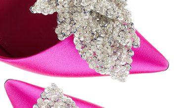Bead and crystal embellished Balenciaga satin pumps