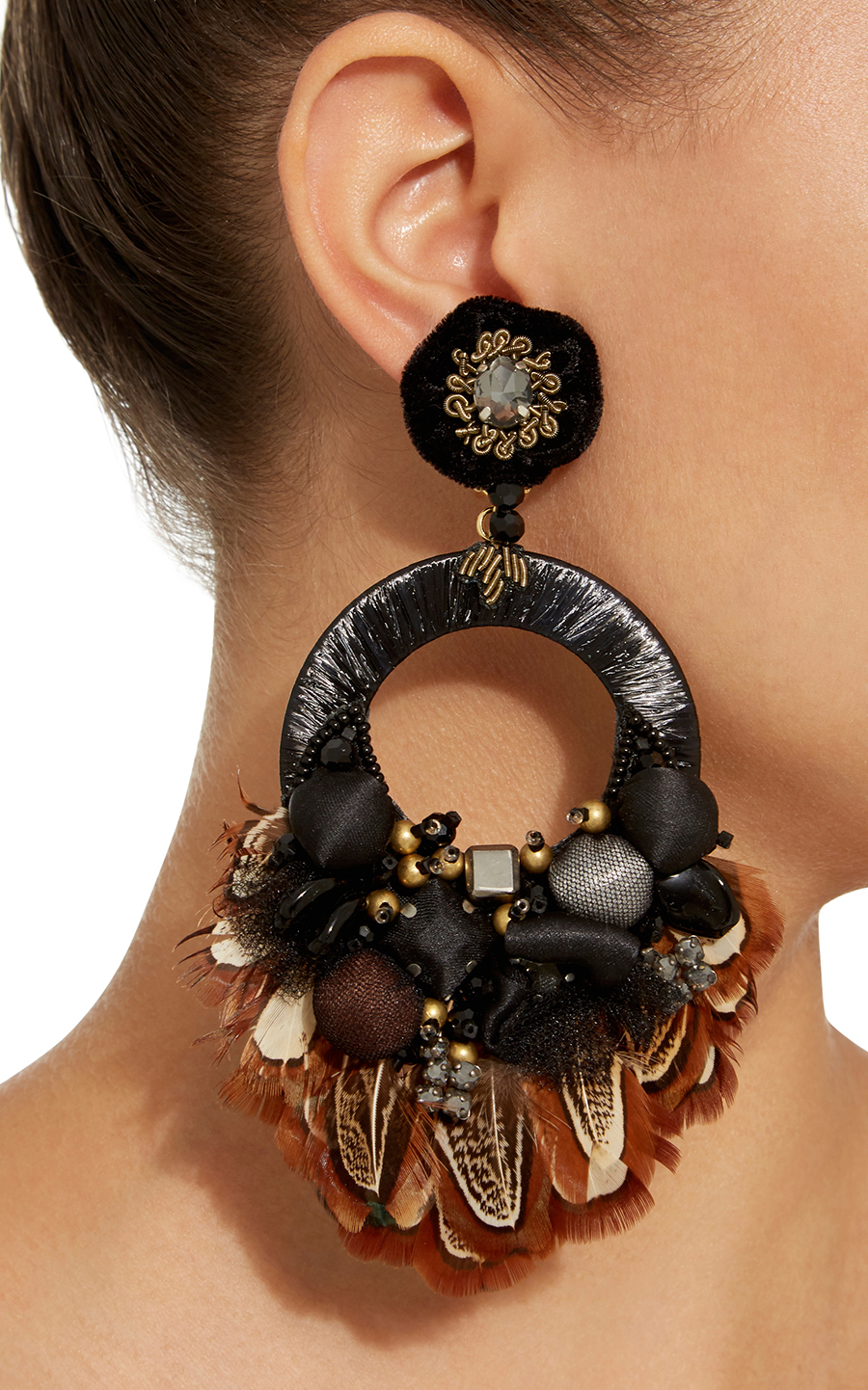 Black hoop drop Ranjana Khan earrings