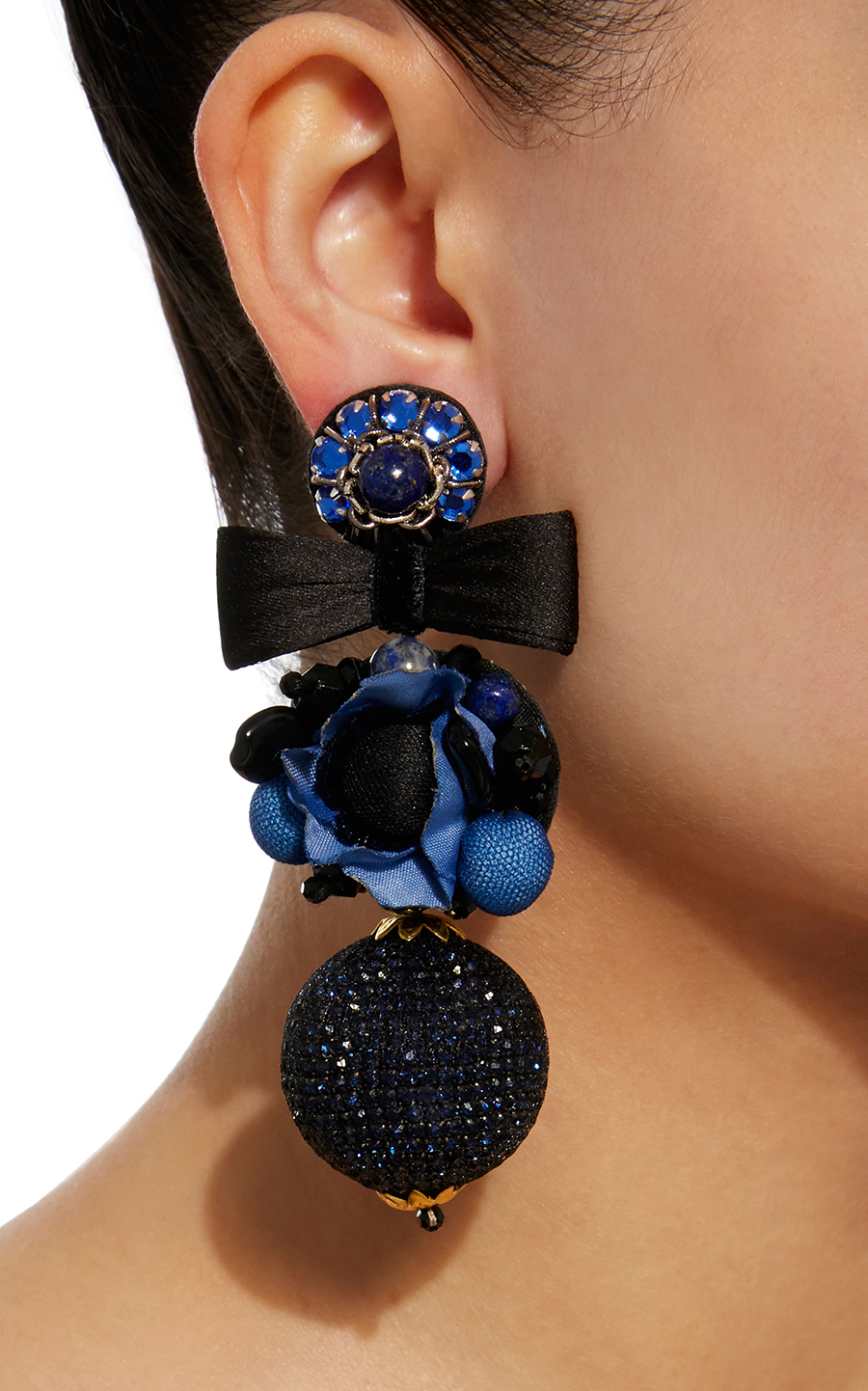Blue Flower Ball Earrings Ranjana Khan earrings