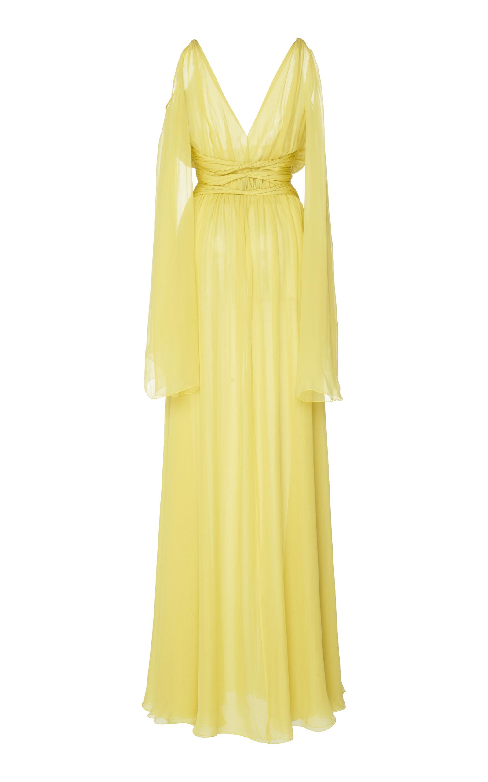 Dundas draped sleeve yellow dress