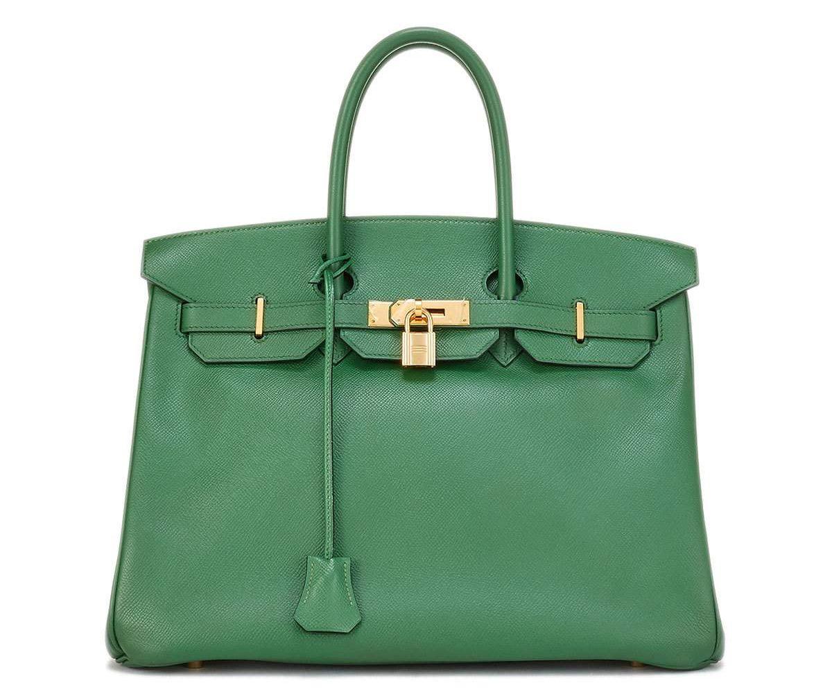 Hermes green Vintage Bamboo Birkin Courchevel Satchel Bag