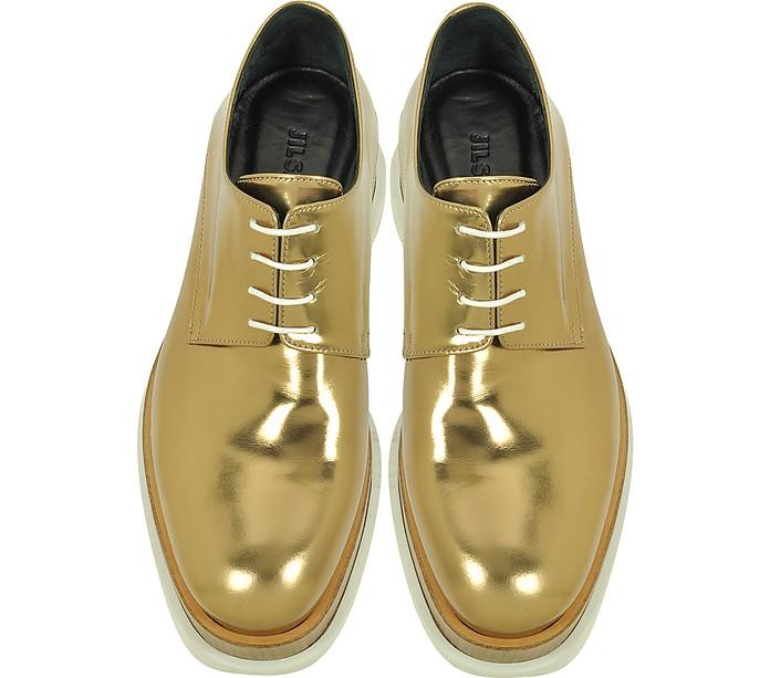 Jil Sander Bronze Leather Platform Oxford Shoe