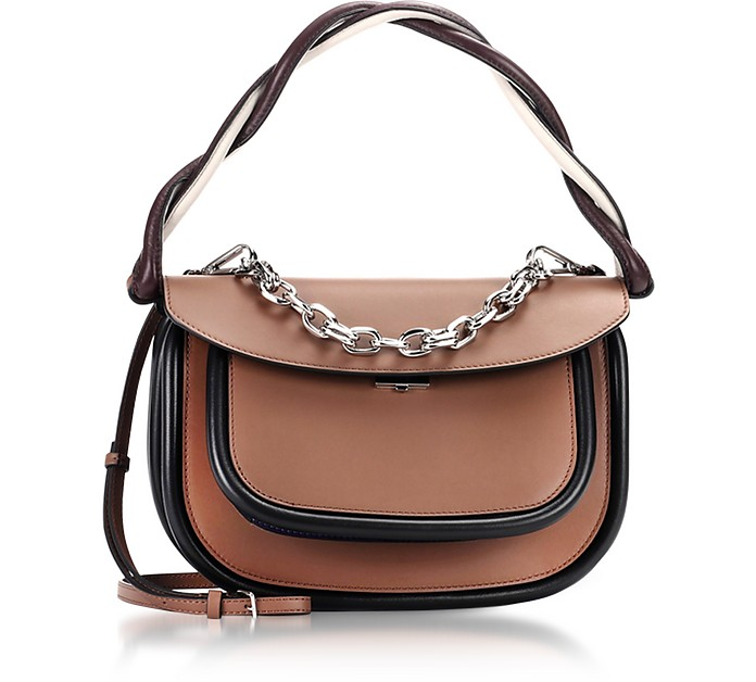 Marni Brown and Dark Orchid Leather Titan Bag