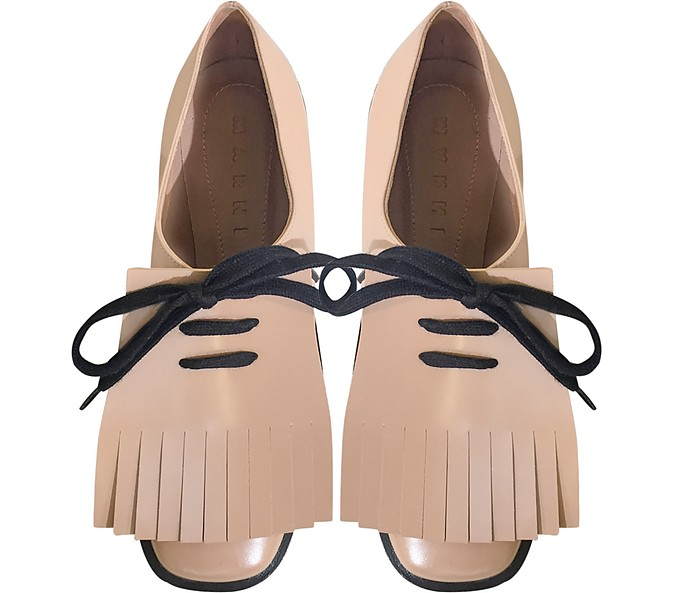 Marni Tan Leather Lace Up Shoes Fringes