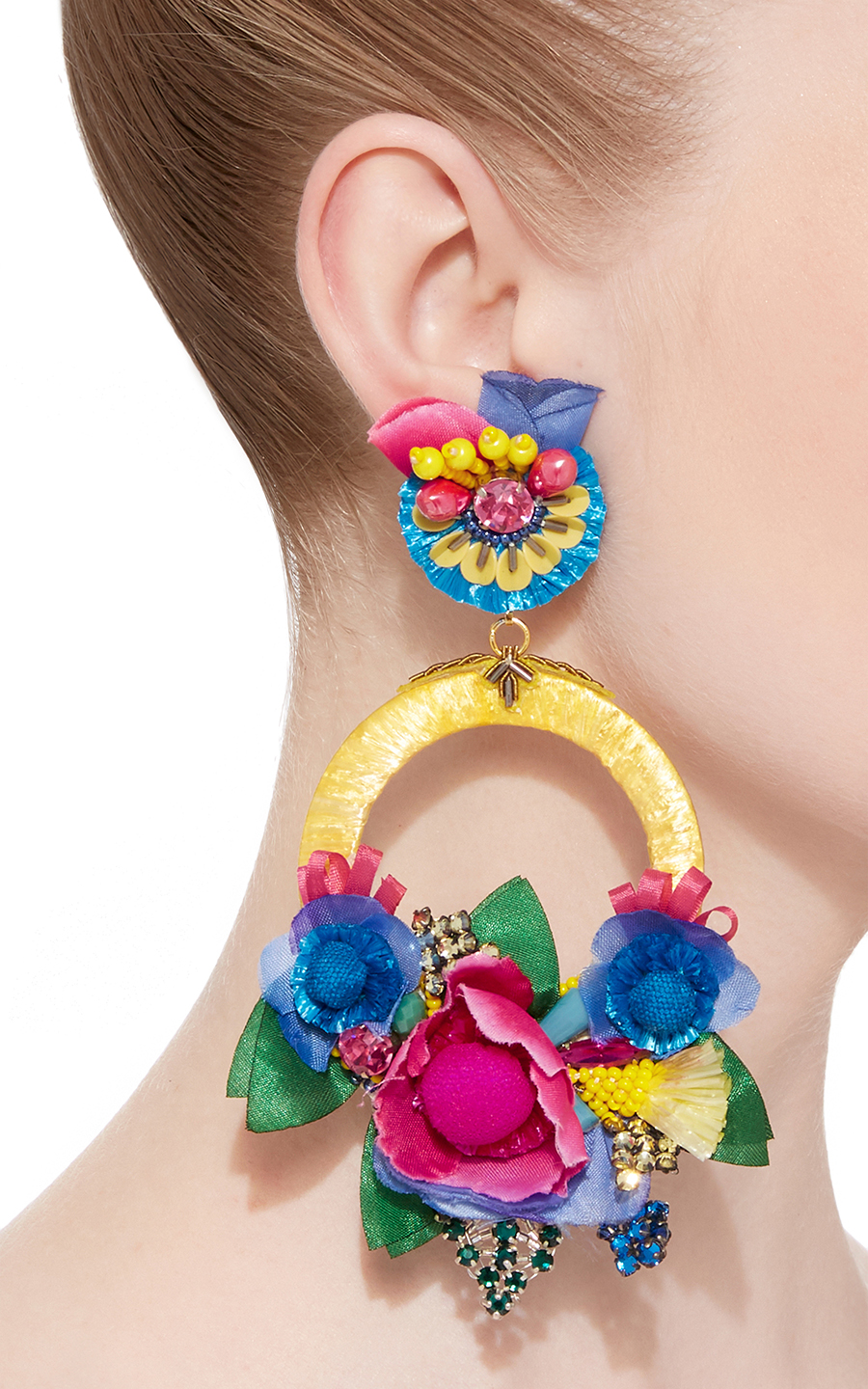 Multi Large Floral Drop Ranjana Khan Earrings