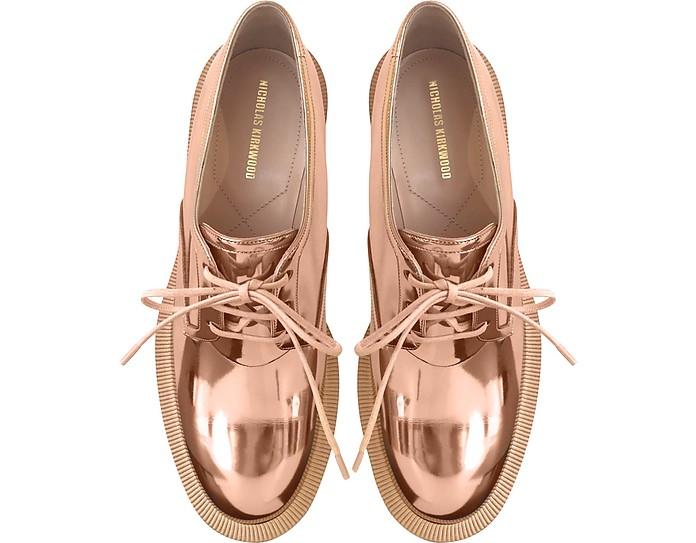 Nicholas Kirkwood Copper Eco-Patent Leather Casati Pearl Derby Shoes