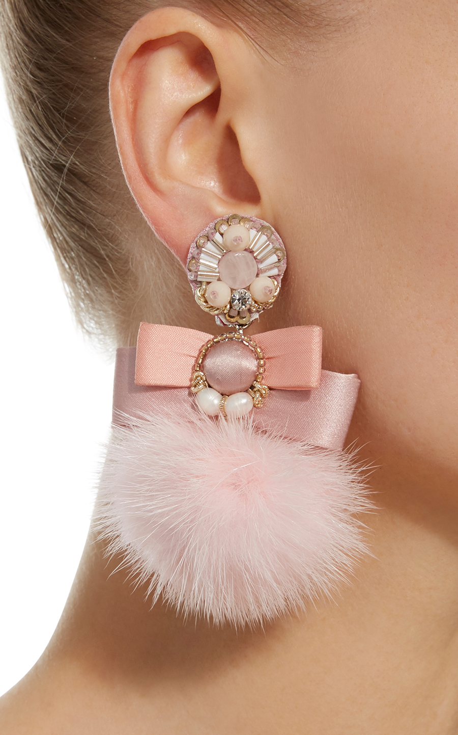 Pale Pink Fur Pom Ranjana Khan Earrings Stylish clip on earrings