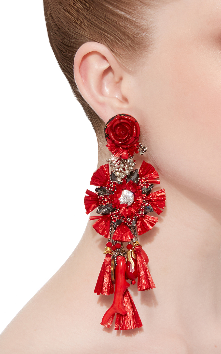 Ranjana Khan Red dop Flower stylish clipon earrings with Tassels