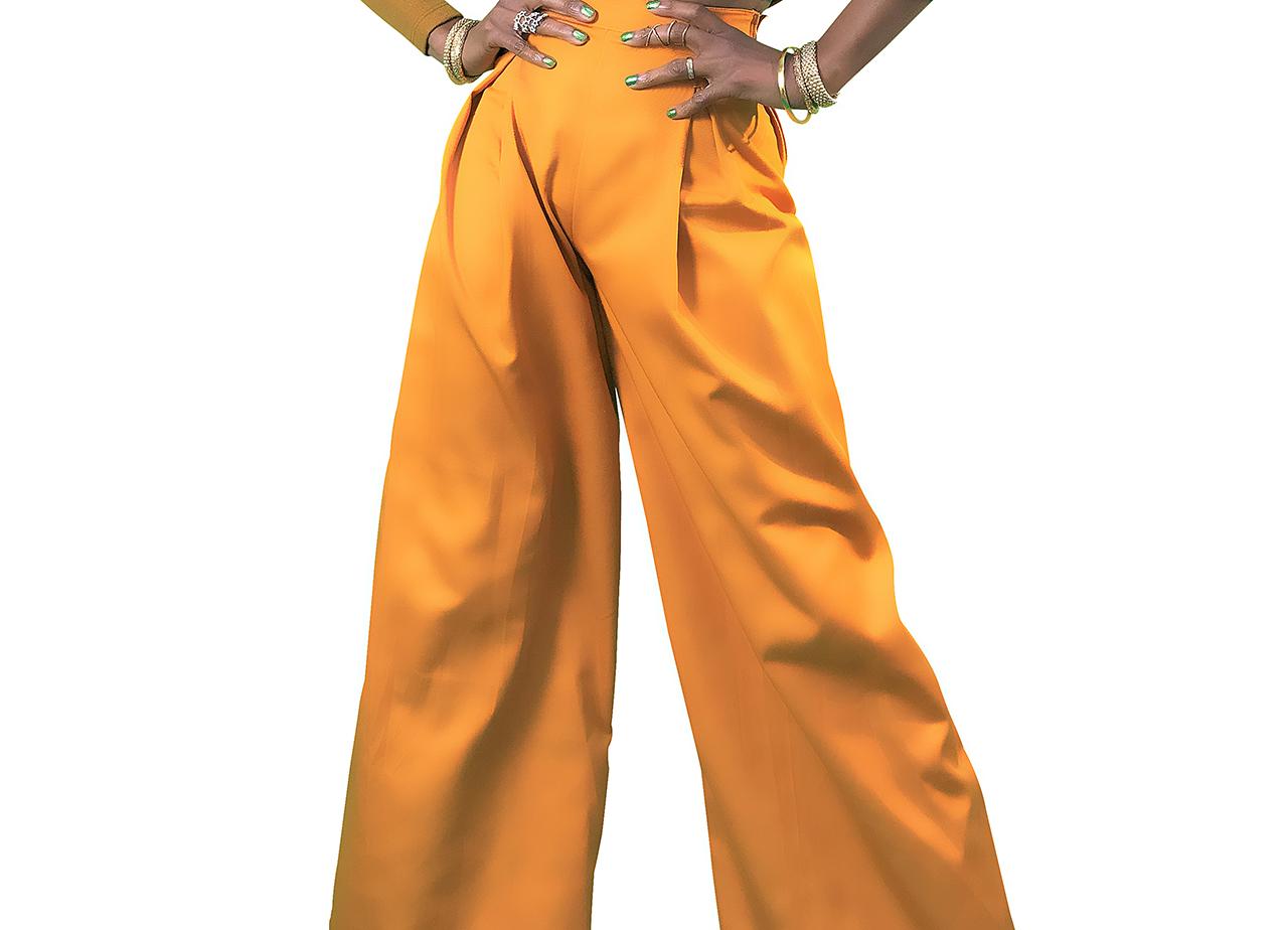 custom made yellow wide leg pants 3 cr