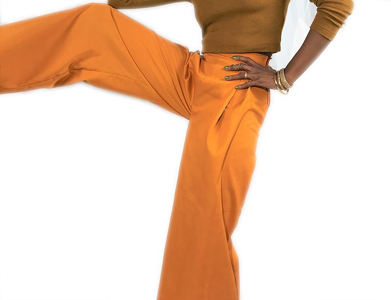 custom made yellow wide leg pants