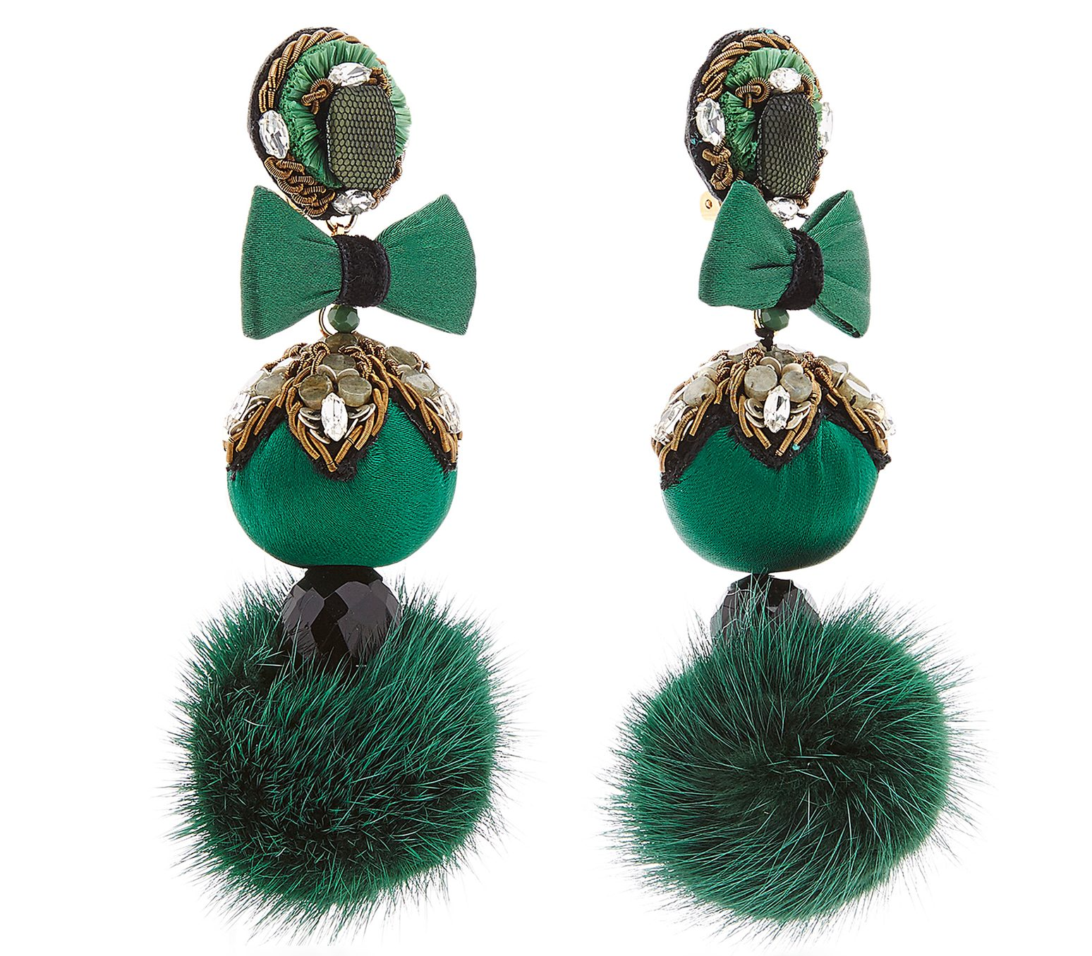 green fur pom earrings ranjana khan