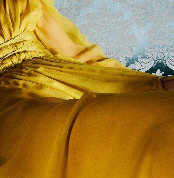 yellow Dundas draped sleeve gown