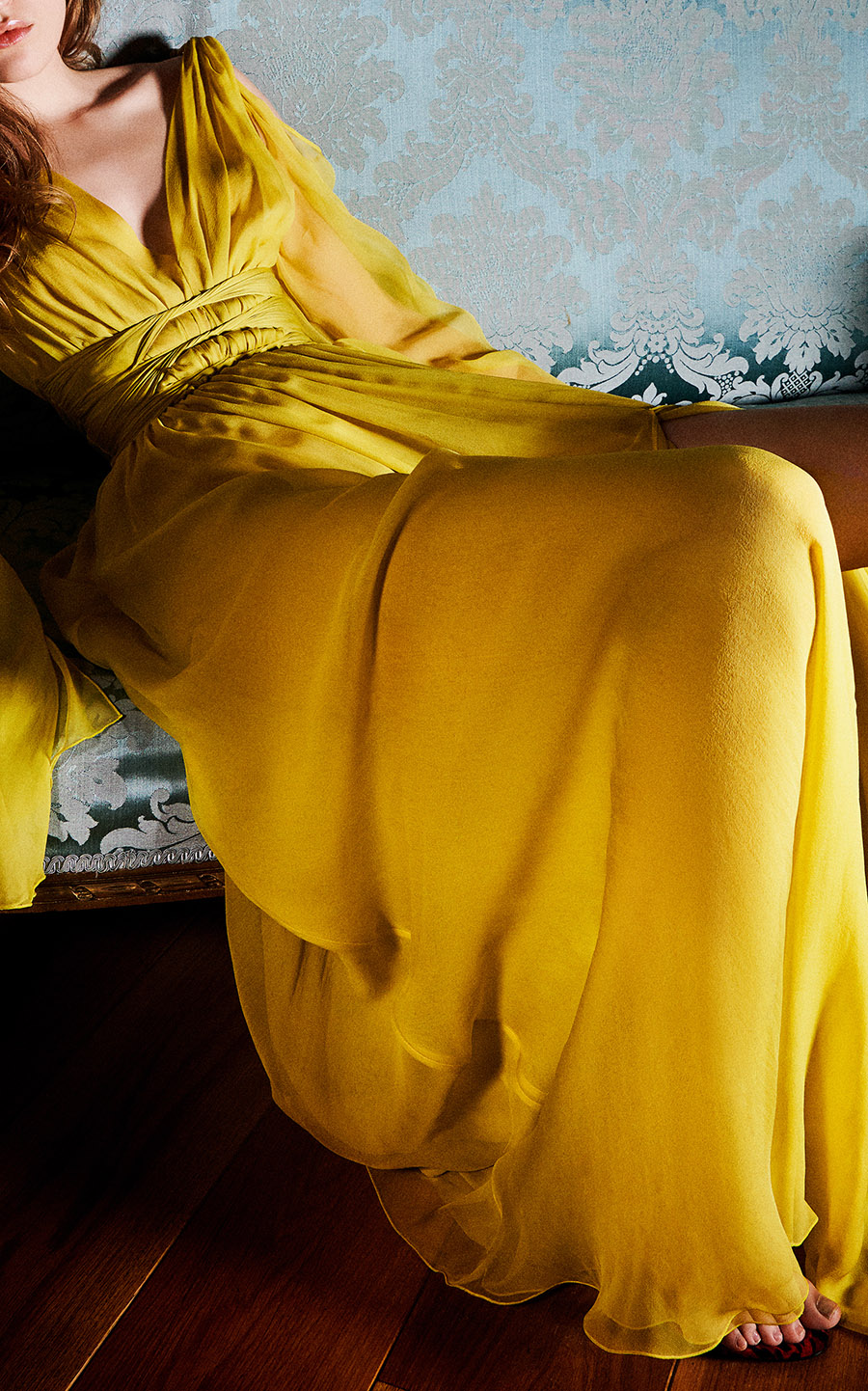 yellow Dundas draped sleeve gown full