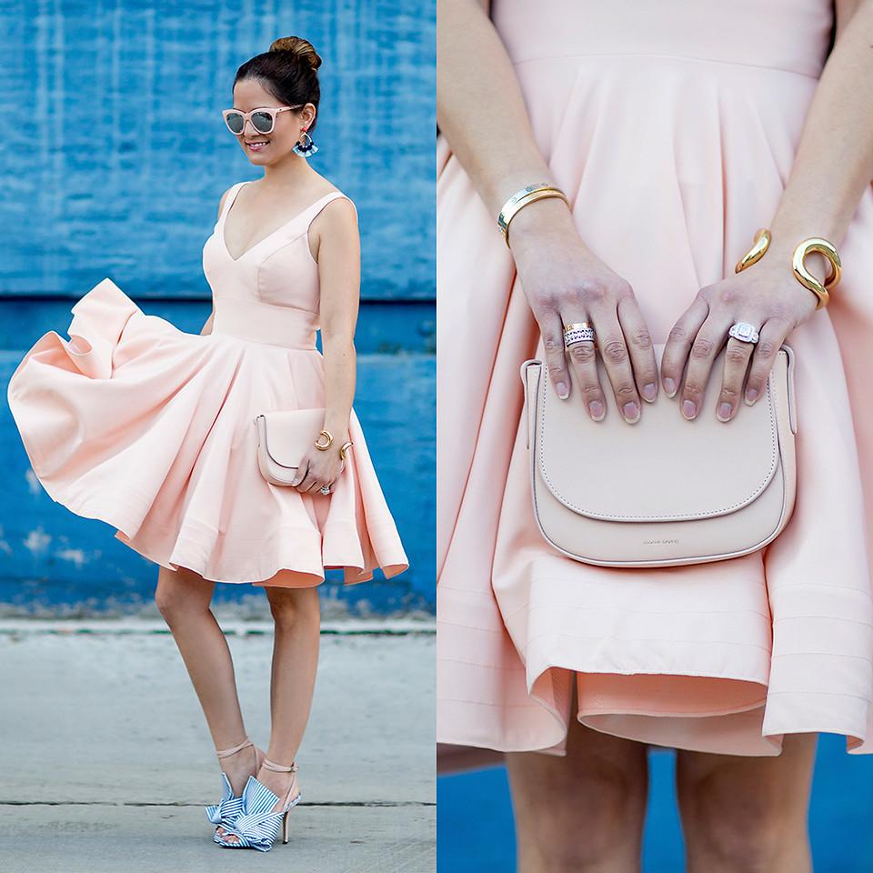Jenn Lake blogger at stylecharade wearing pink dress blue shoes