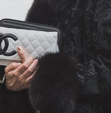 Detail of bag outside Gabriele Colangelo fashion show building for Milan Womens Fashion Week on FEBRUARY 28 2015 in Milan