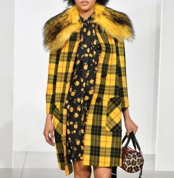 Michael Kors yellow plaid coat with faux fur collar