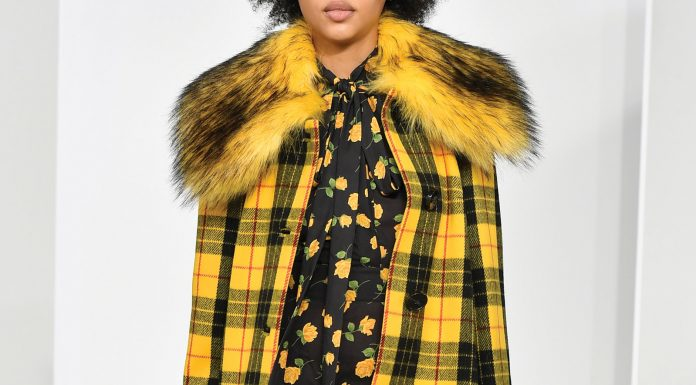 Michael Kors yellow plaid coat with faux fur collar