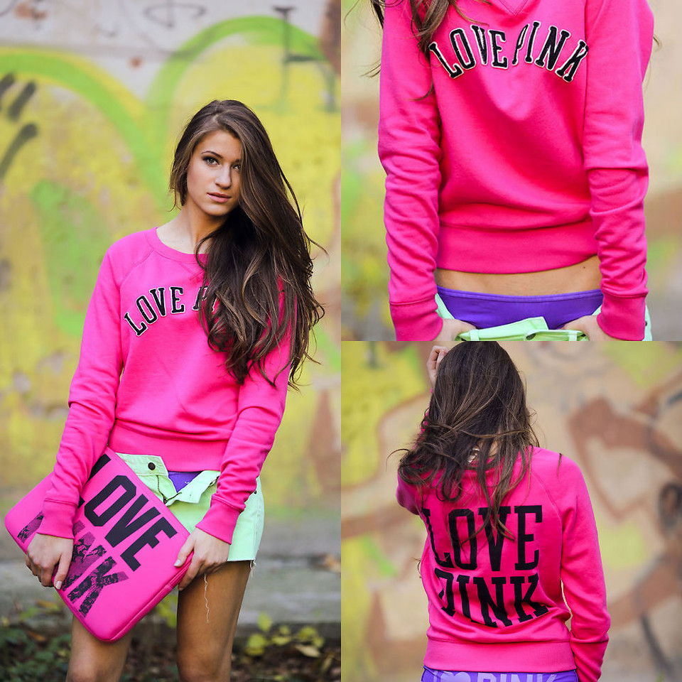 are you too old to wear pink - Maryana Yusypchuk from Ivano-Frankivsk Ukraine wearing a Love Pink sweater from Victorias Secret