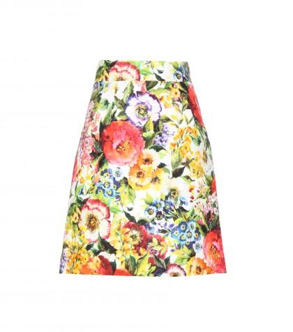 Dolce & Gabbana Cotton And Silk-blend Floral-print Skirt