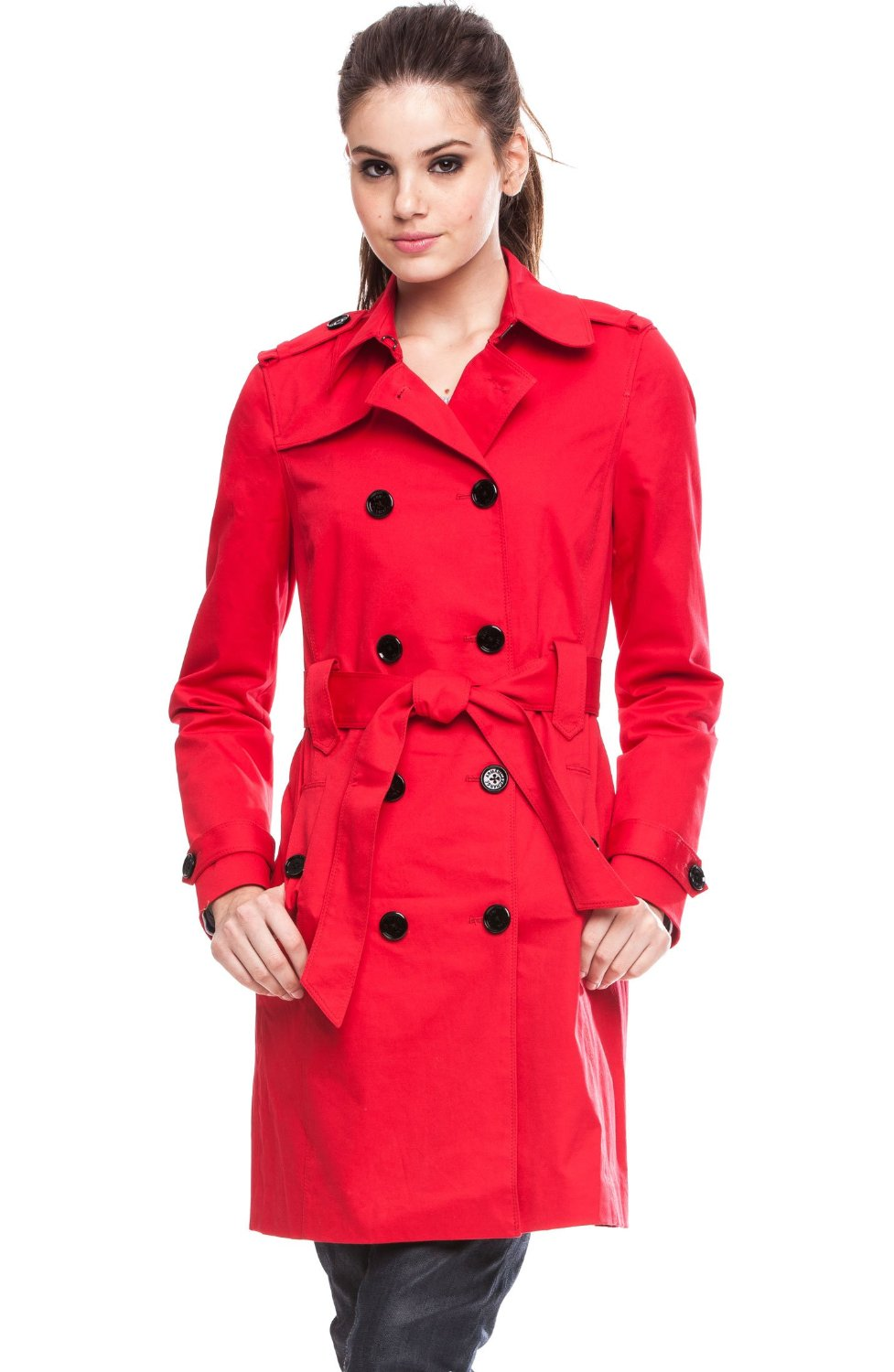 Sylvia and her classic red trench coat from Armani Exchange