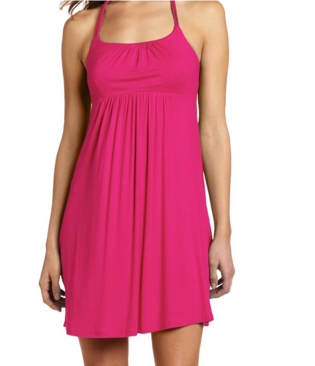 fuchsia wrapper halter fit and flare dress