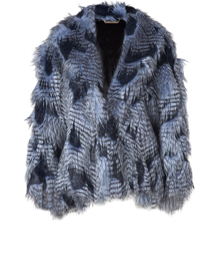 6bae94db3d92 JUICY COUTURE Lapis Faux Fur And Feather Cape - My Fashion Wants