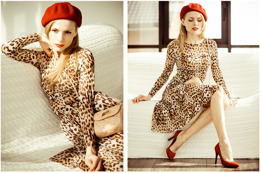 orange dress with leopard print shoes