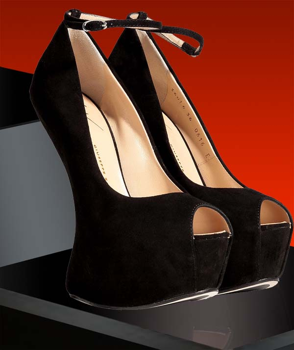 Giuseppe Zanotti Black Suede Platform Peep Toes with Ankle Strap