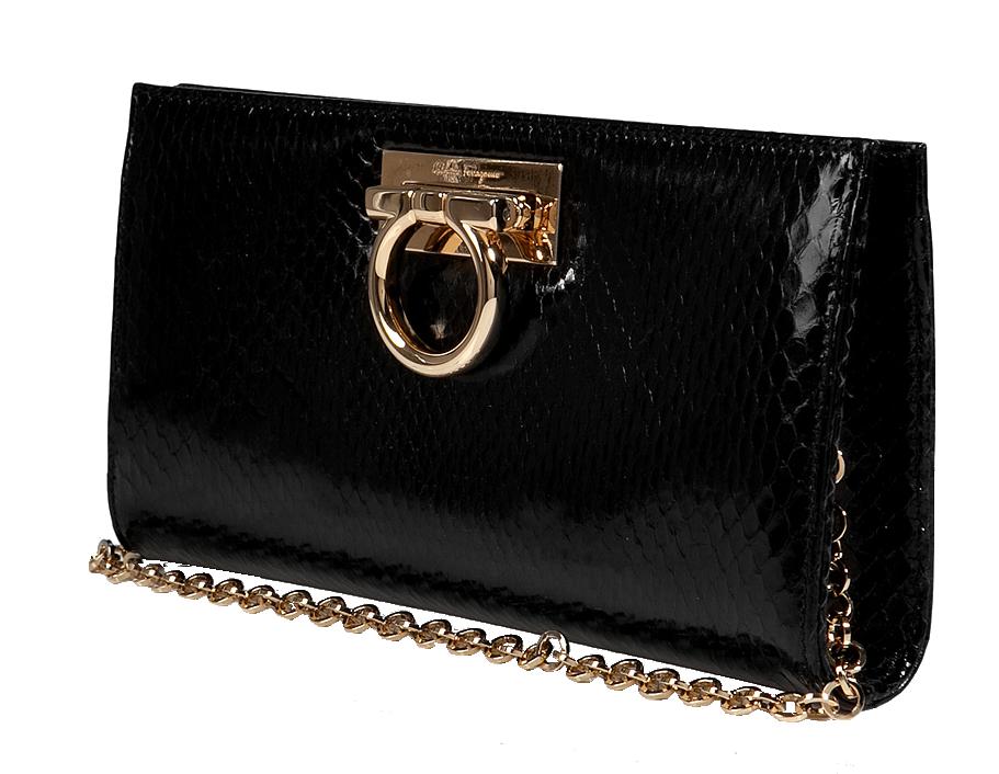 Salvatore Ferragamo jet black python clutch