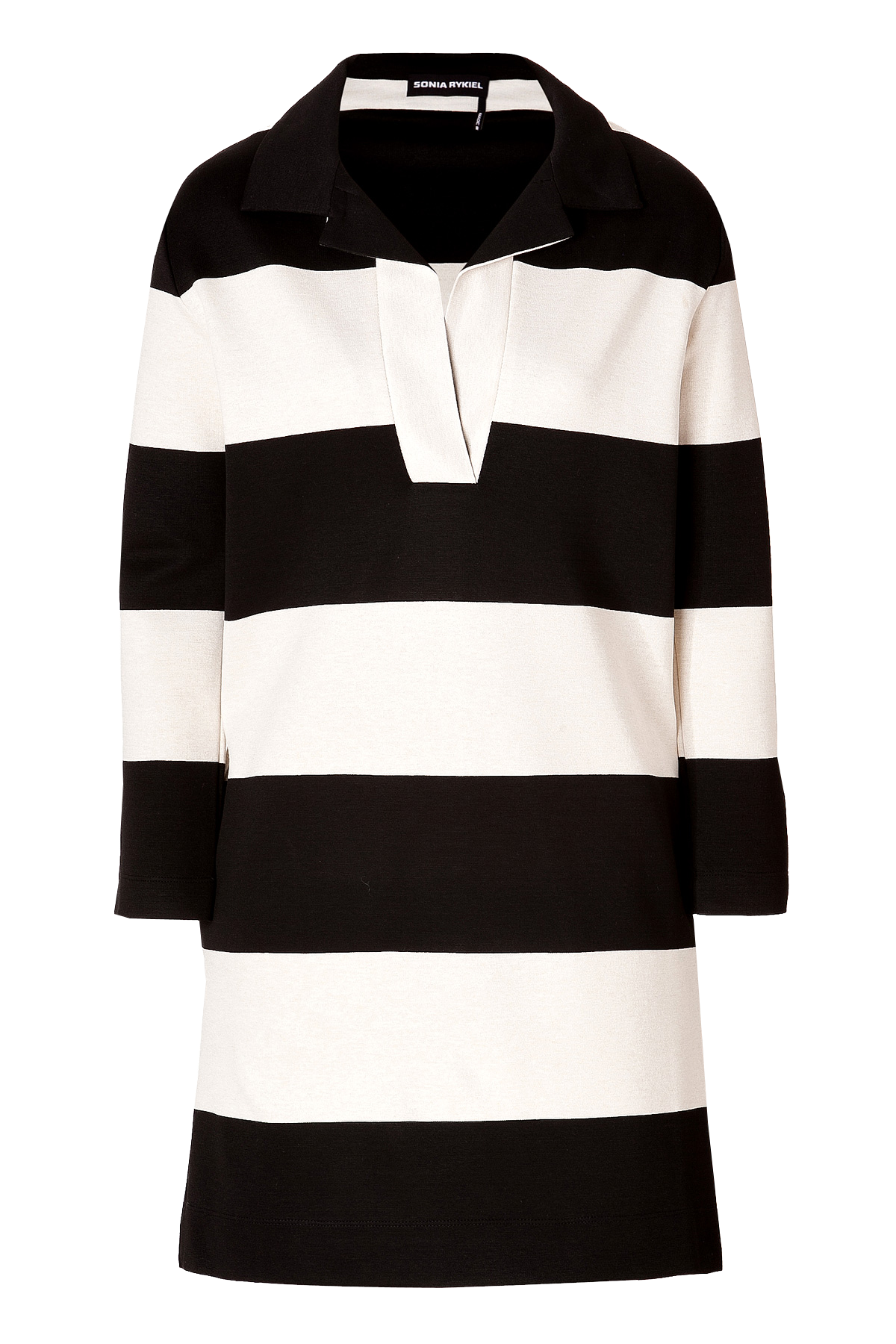 Sonia Rykiel stripe Knit Dress Black Off-White