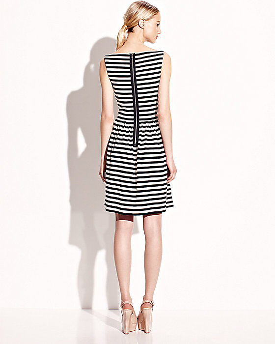 Betsey Johnson black white stripe knotted open front sleeveless dress back
