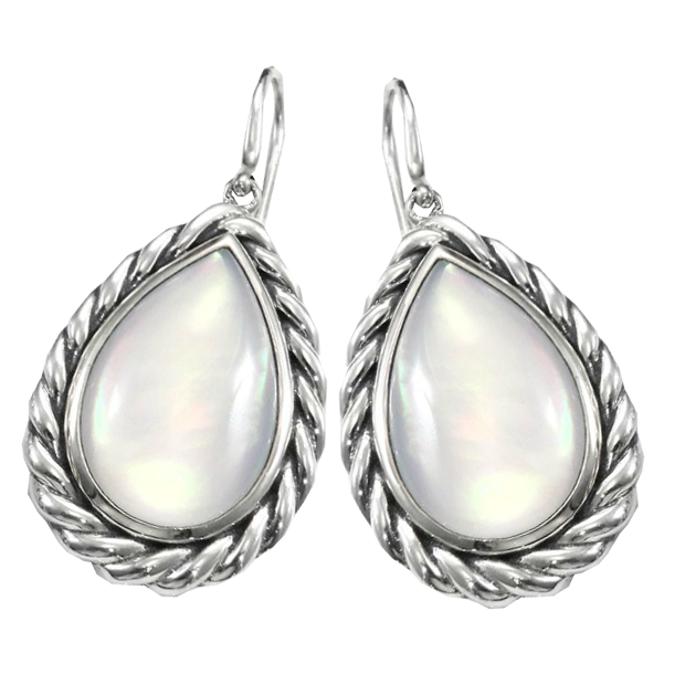David Yurman Moonstone Doublet & Sterling Silver Drop Earrings