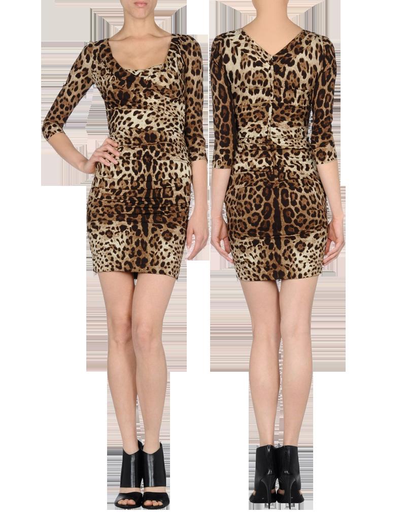 Dolce Gabbana runched long sleeved short leopard print dress worn
