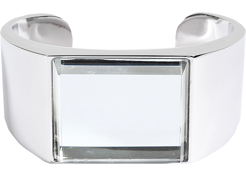 Maison Martin Margiela brass cuff with glass top in silver