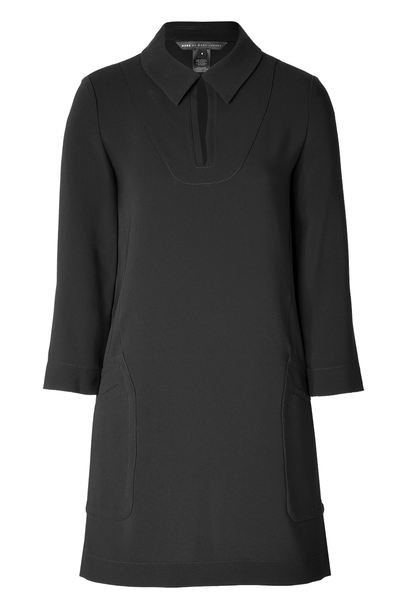 Marc by Marc Jacobs Black classic cutout-collar cutout bracelet-length sleeved crepe sparks dress