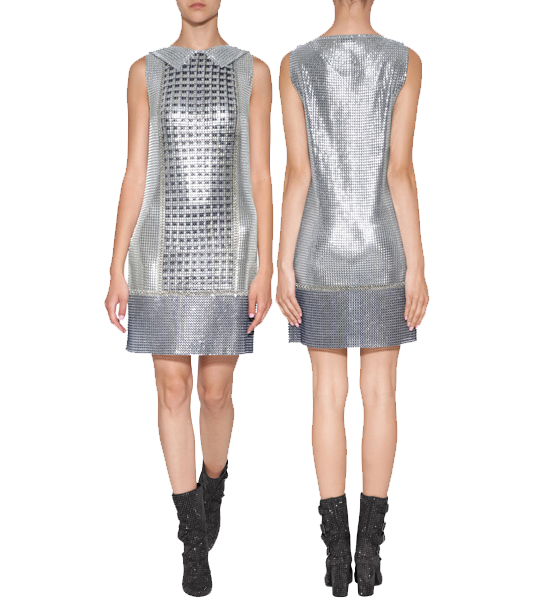 PACO RABANNE Chain Metal Shirt Style Short Dress on model