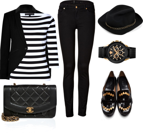 9f6dd870be Ralph Lauren black white striped top seven for all mankind black skinny  jeans chloe loafers chanel quilted leather bag rag-bone black blazer  Versace watch