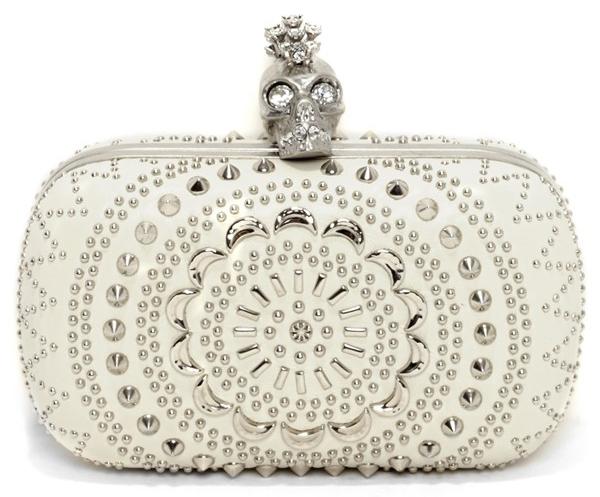 Alexander McQueen white Punk Skull Clutch purse