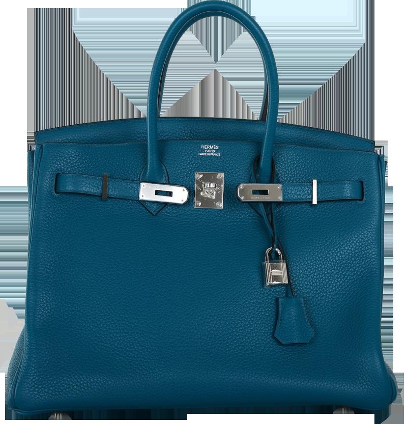Hermes Izmir Blue 35cm Birkin Bag with Palladium Hardware