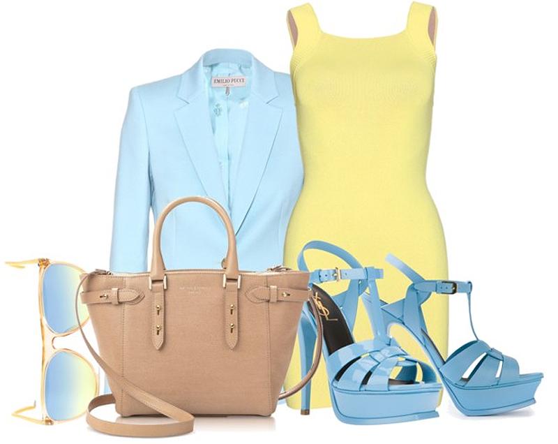 Alexander Wang pastel yellow dress Emilio Pucci pastel blue blazer nude leather bag Saint Laurent tribute sandals