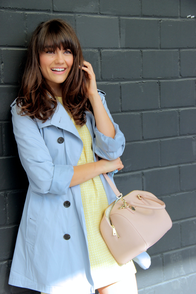Evelyne Wyss The Bubbly Speckle yellow dress blue trench coat 2