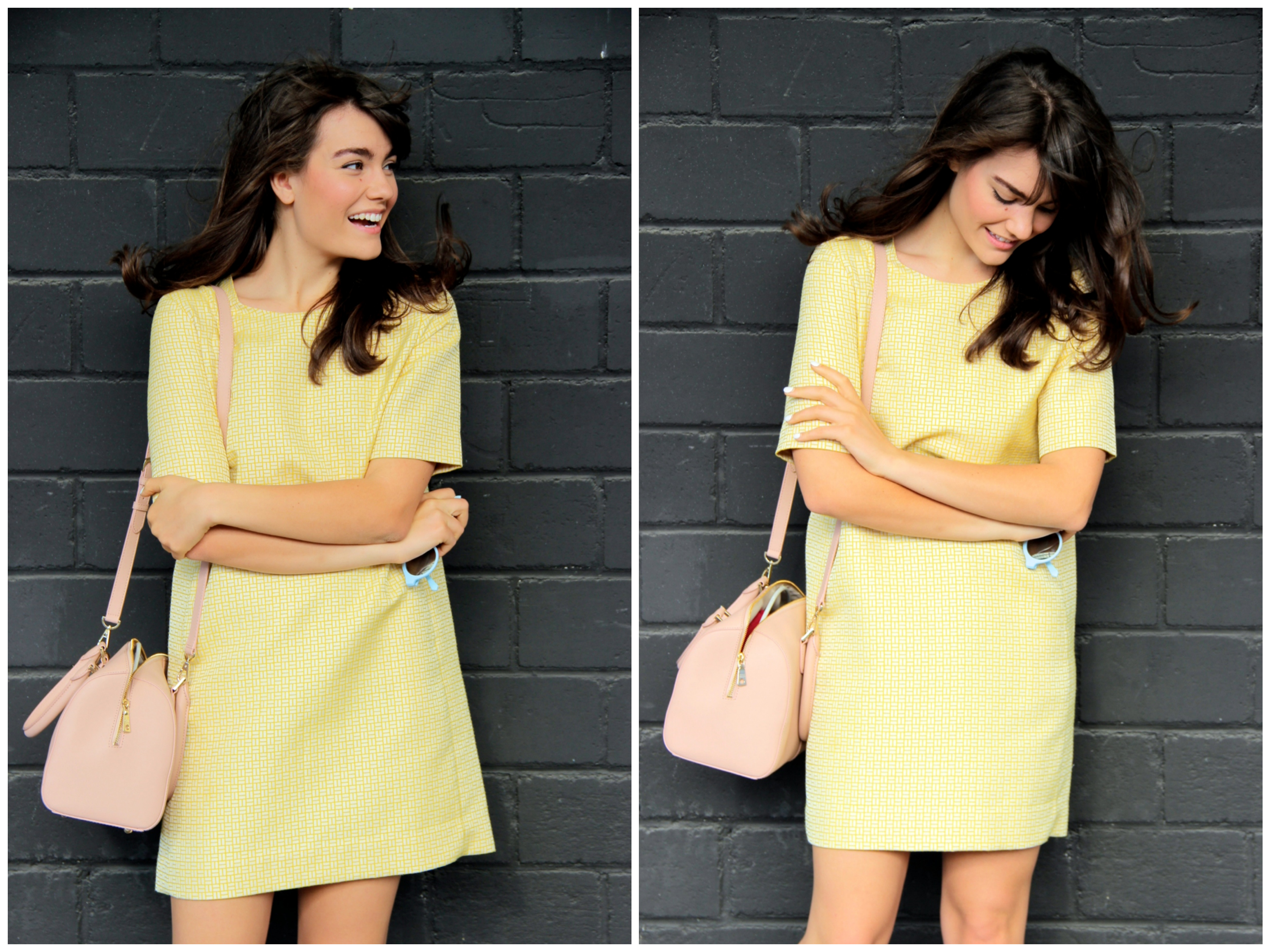 Evelyne Wyss The Bubbly Speckle yellow dress blue trench coat trilogy pastel 2