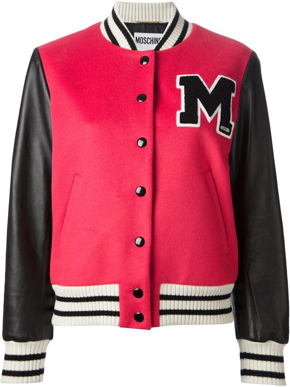 Moschino red black white virgin wool sheepskin varsity bomber jacket