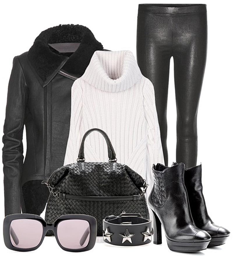 35bc0abbdb68d Alexander McQueen ivory white Wool-blend turtleneck sweater j brand black  letaher leggings Rick Owens