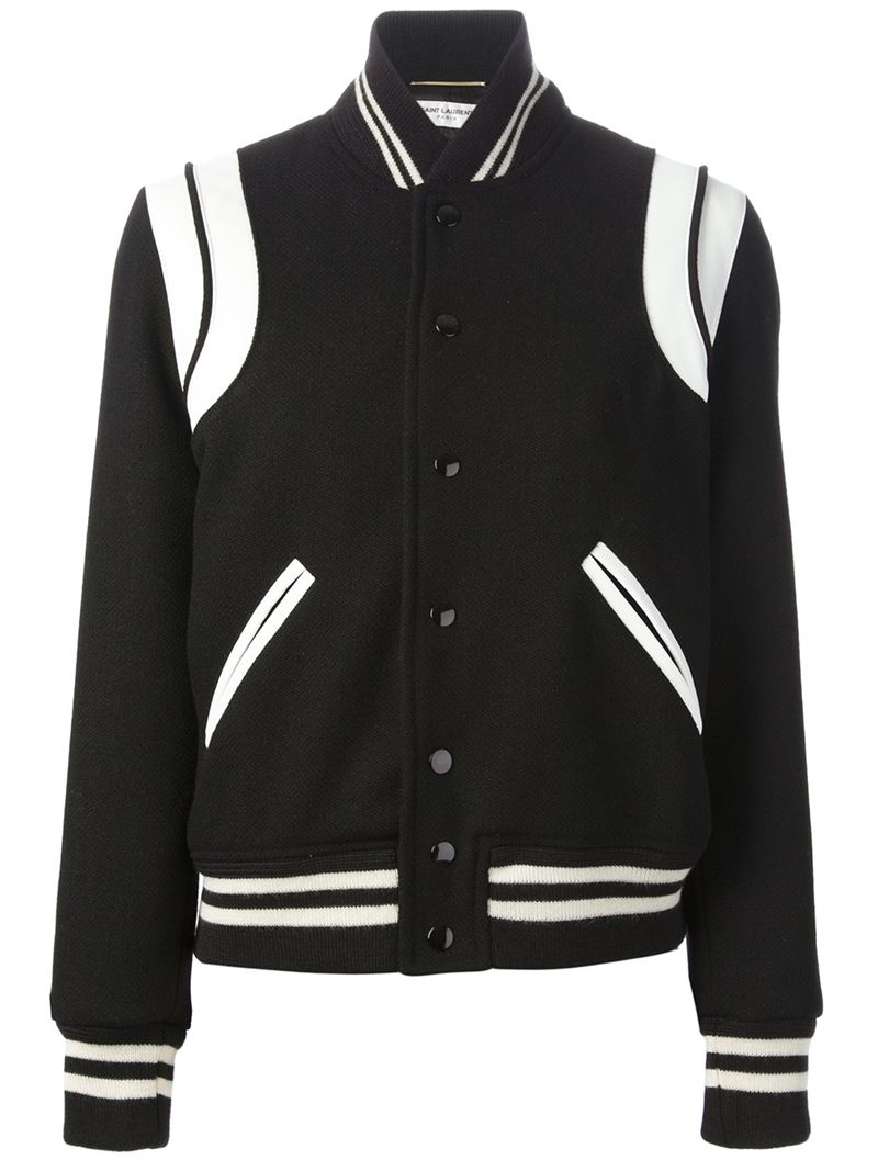 Black and white virgin wool and cotton blend varsity jacket from Saint Laurent