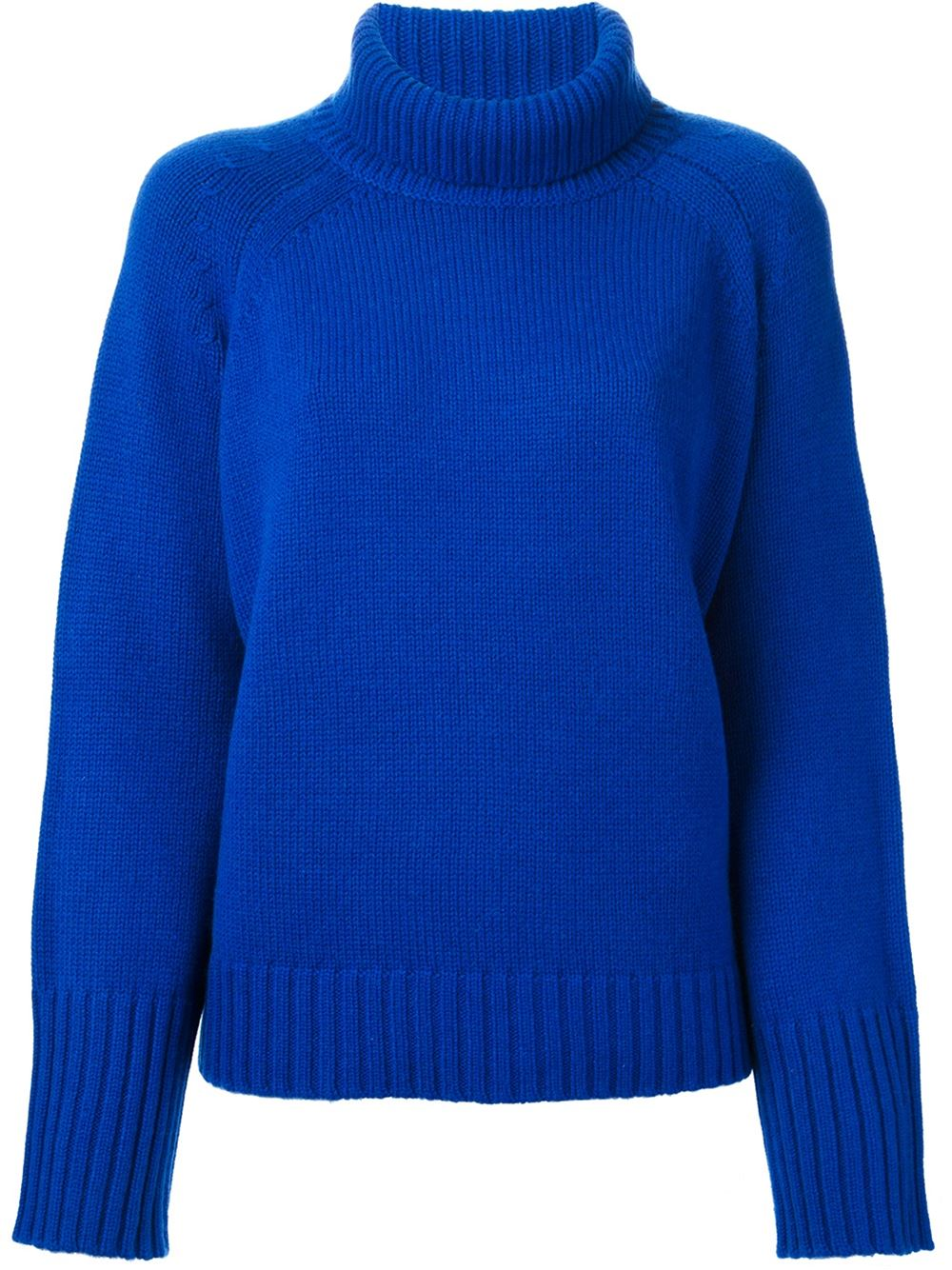 Bright blue wool-cashmere blend funnel neck sweater from Vanessa Bruno