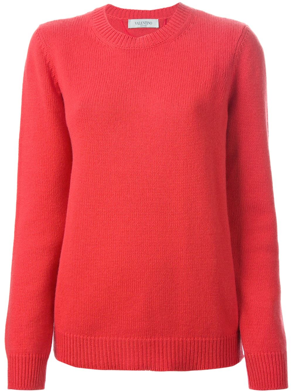 Orange cashmere round neck sweater from Valentino