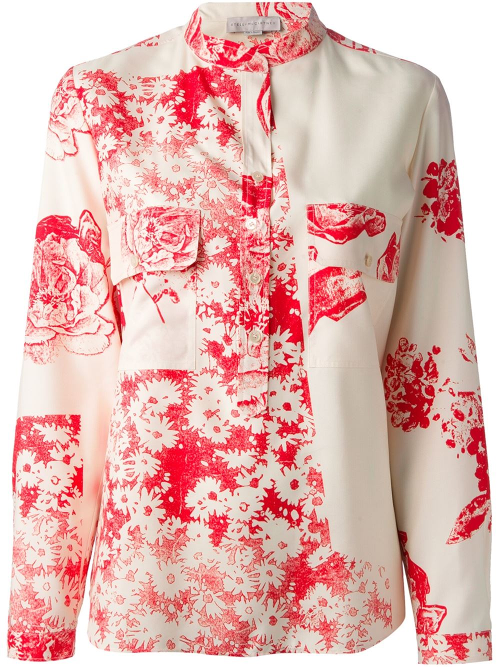 Red and white silk floral print shirt from Stella McCartney