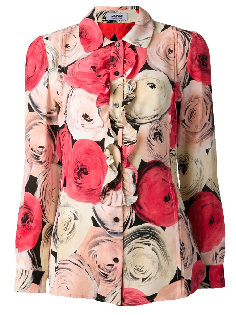 Red silk rose print blouse from Moschino Cheap Chic