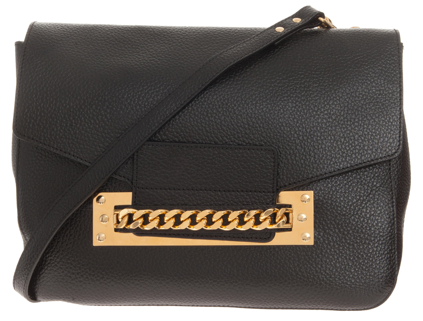 Sophie Hulme Soft Chain Bag Stamp black Leather shoulder bag